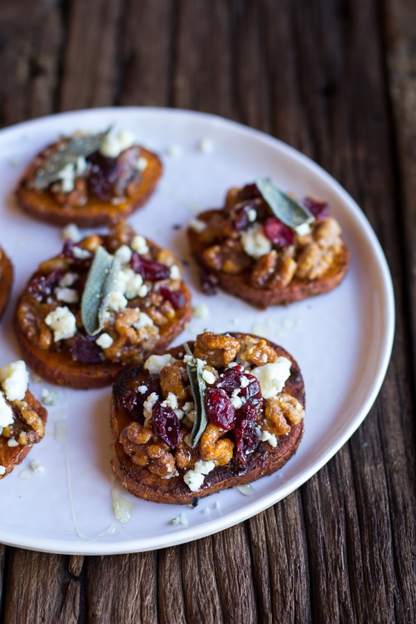 Curried Sweet Potato Rounds Honeyed Walnuts Cranberries Blue Cheese for an anti-inflammatory Thanksgiving.