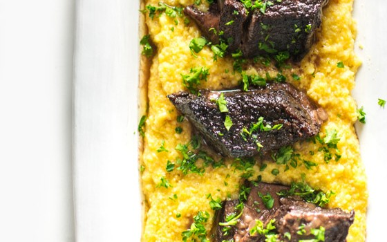 Red Wine Braised Short Ribs with Polenta and Root Vegetables