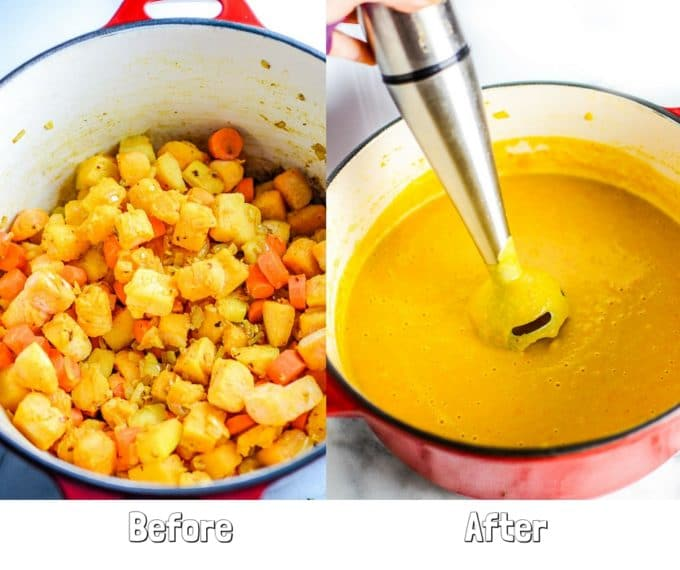 Creamy Coconut Curry Butternut Squash Soup; on the left, vegetables in a pot; on the right, the vegetables have been pureed with an immersion blender.