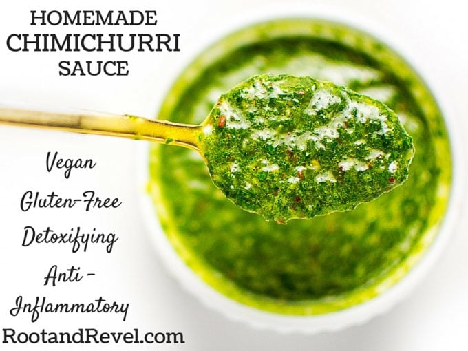 In 5 minutes, you can make this nutrient-dense authentic Argentino chimichurri recipe, bursting with flavor. Authentic, healthy and delicious! | rootandrevel.com