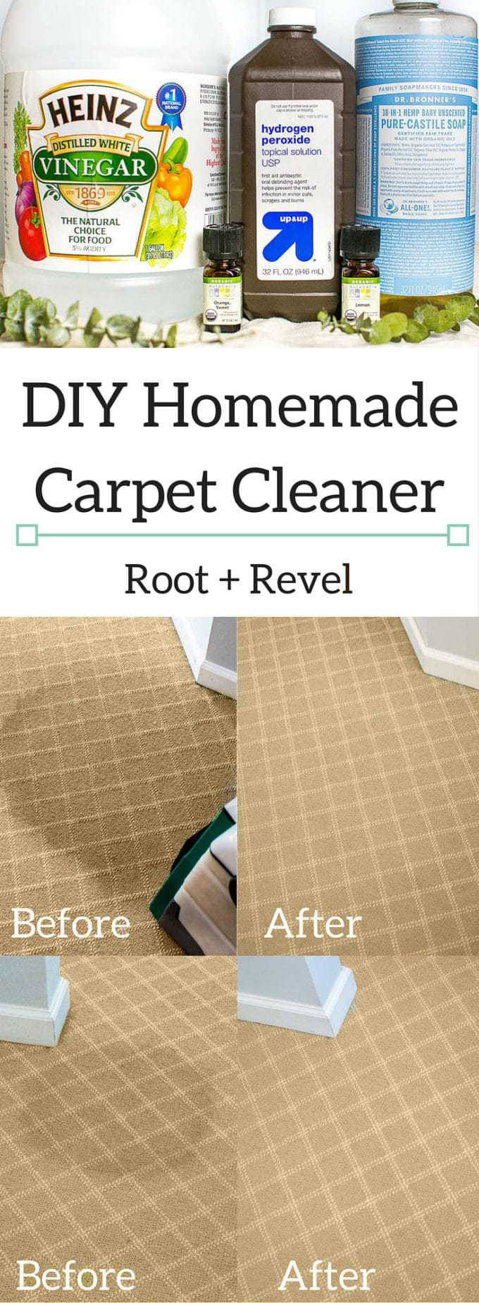 DIY Homemade Carpet Cleaner ingredients and before and after photos.