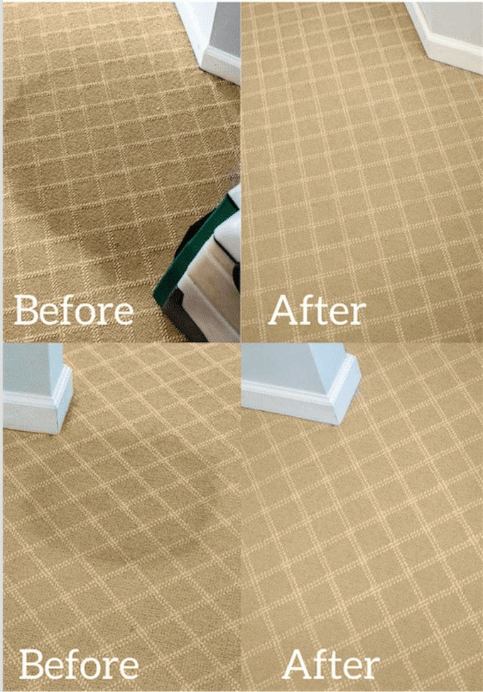 Before and after photos of a homemade carpet cleaner solution.