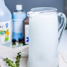 DIY Homemade Carpet Cleaner solution in a glass pitcher.