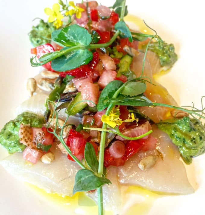 Crudo with Green Strawberries | In our Best Things We Ate series, we roundup the best restaurant meals, blog recipes + at-home cooking adventures of the month. Bon Appetit!