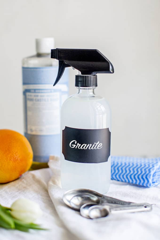 With just 4 ingredients, this DIY Natural Granite Cleaner Spray, made without vinegar,