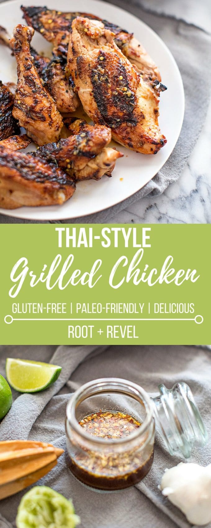 This Thai Grilled Chicken recipe is a fun twist on BBQ chicken with a bright and tangy Thai marinade. Thai chicken is easy, healthy and bursting with authentic flavor, the perfect American meets Thai food recipe for summer grilling.