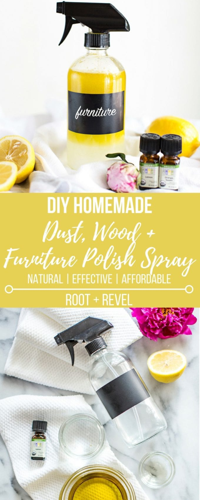 This DIY homemade dust, wood + furniture polish spray is a safe, affordable and natural cleaning alternative to toxic store-bought cleaners. Use with a microfiber cloth to polish and clean wood, furniture and remove dust.