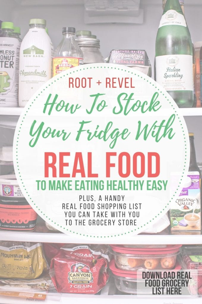 Keeping your fridge stocked with real, whole foods makes healthy eating easy! Here's a peek of what's in my fridge, complete with a handy grocery shopping list you can take with you to the store.
