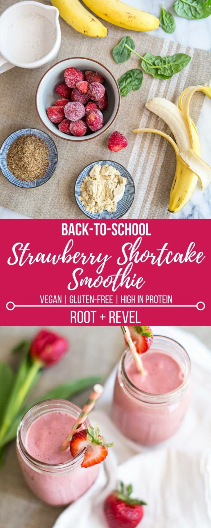 Get the family excited for back-to-school with this vegan strawberry shortcake smoothie. Though it tastes exactly like the delicious dessert, this healthy breakfast smoothie is dairy-free (no yogurt), low-fat and high in protein!