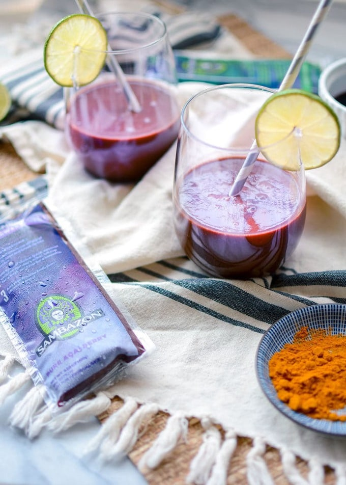 This anti-inflammatory acai smoothie with turmeric is a delicious vegan smoothie bursting with antioxidants, fiber + omegas. Cherries and bananas add sweet creaminess!