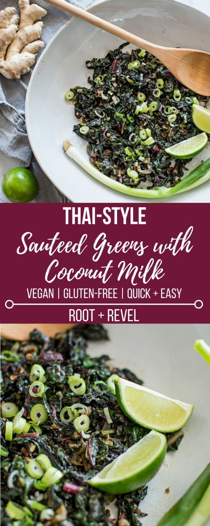 This quick and easy recipe for Thai-style sauteed greens with coconut milk is a super healthy and nutritious side dish! It can be made with swiss chard, collard greens, kale or spinach and gets a delicious Asian zing from fish sauce and chiles.