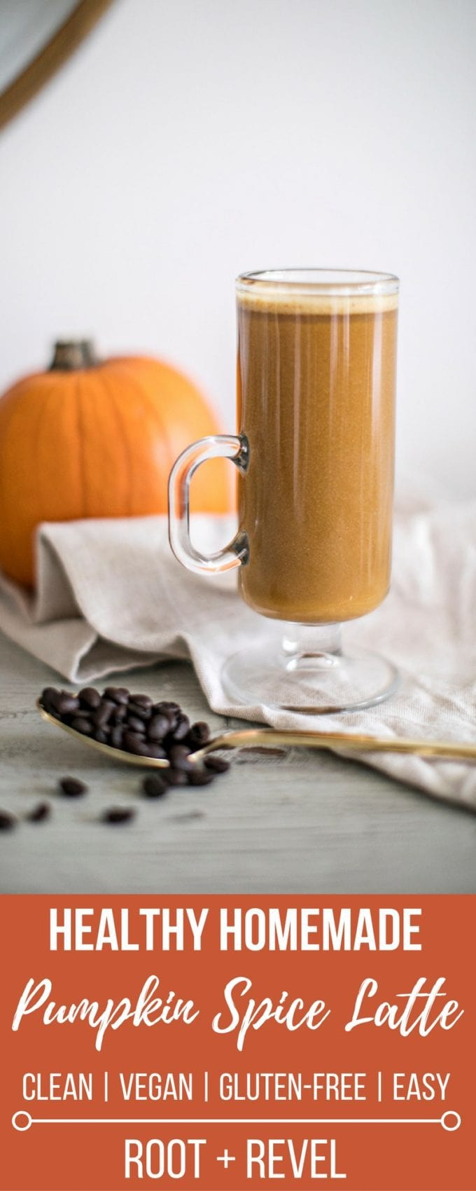 This homemade healthy pumpkin spice latte recipe is a clean alternative to Starbucks that's perfect for Fall. It's made with six simple ingredients like coffee and real pumpkin, is refined sugar-free and high in Vitamin A and omega-3s. This dairy-free, vegan and gluten-free recipe is super easy and affordable to make at home, too!