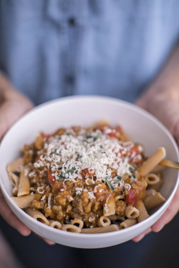 Healthy Fall Recipes Featuring Mushrooms with Pumpkin Bolognese Pasta Sauce