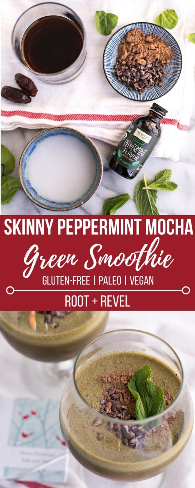 This homemade skinny peppermint mocha green smoothie recipe is a healthy copycat version of the iconic Starbucks drink, made without any of the harmful additives and excess sugar. It's full of classic mint chocolate, creamy coffee flavor, plus tons of vitamins and nutrients to nourish your body through the season.