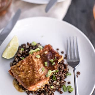Baked Miso Salmon with Ponzu Sauce and Lentils