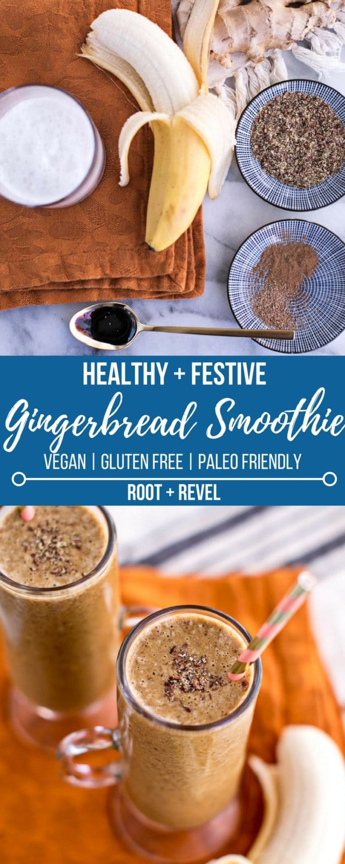 This Christmas, make this healthy gingerbread smoothie recipe--a festive holiday drink that's vegan, gluten-free, Paleo-friendly and absolutely delicious! Made with molasses, this guilt-free gingerbread smoothie will put you in the holiday spirit, without any refined sugar. All you need is a blender and five simple ingredients, and your breakfasts just got a whole lot better.