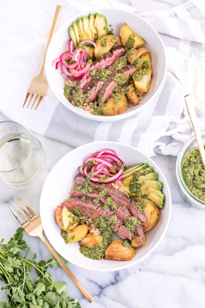 Healthy Fall Recipes Featuring Potatoes with Steak Chimichurri Recipe