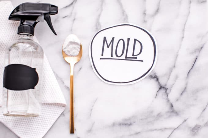 A glass spray bottle, gold spoon with baking soda, paper towel, and a sticker with the word 'mold' on a counter.