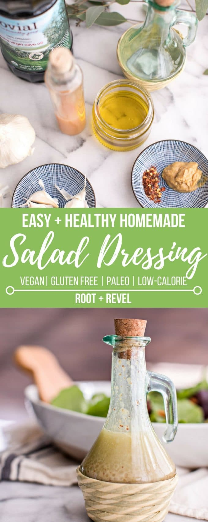 Store-bought salad dressing brands are often filled with excess sugar and sodium, inflammatory oils, preservatives and harmful additives like MSG, gums, and artificial colors and flavors. Fortunately, making your own salad dressing couldn't be easier--this healthy homemade vinaigrette is Paleo, gluten-free, vegan and absolutely delicious!