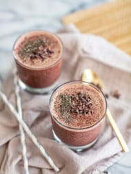 This Valentine's Day, show your special someone some love with a chocolate cherry green smoothie--made with cacao, spinach, almond milk and collagen protein, and without yogurt or bananas, this healthy, dairy-free recipe is Paleo, vegan-friendly and great for sleep, weight loss and nourishing your body.