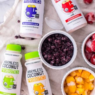 This vegan probiotic yogurt from Harmless Harvest is full of healthy fats (MCTs), fiber and plant-based probiotics for gut health and overall wellbeing.