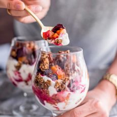 These yogurt breakfast bowls are made with vanilla roasted butternut squash and beets, served up as yogurt parfaits layered with creamy nut butter and chocolate granola. A low-calorie breakfast recipe perfect for weight loss, it's a savory idea for cooking with vanilla extract.