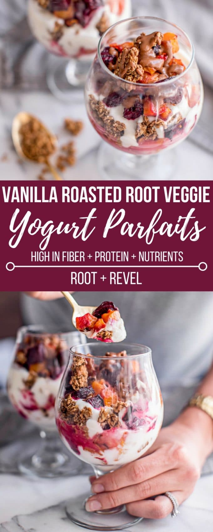 These yogurt breakfast bowls are made with vanilla roasted butternut squash + beets, served as yogurt parfaits with nut butter + granola. Low calorie, too!
