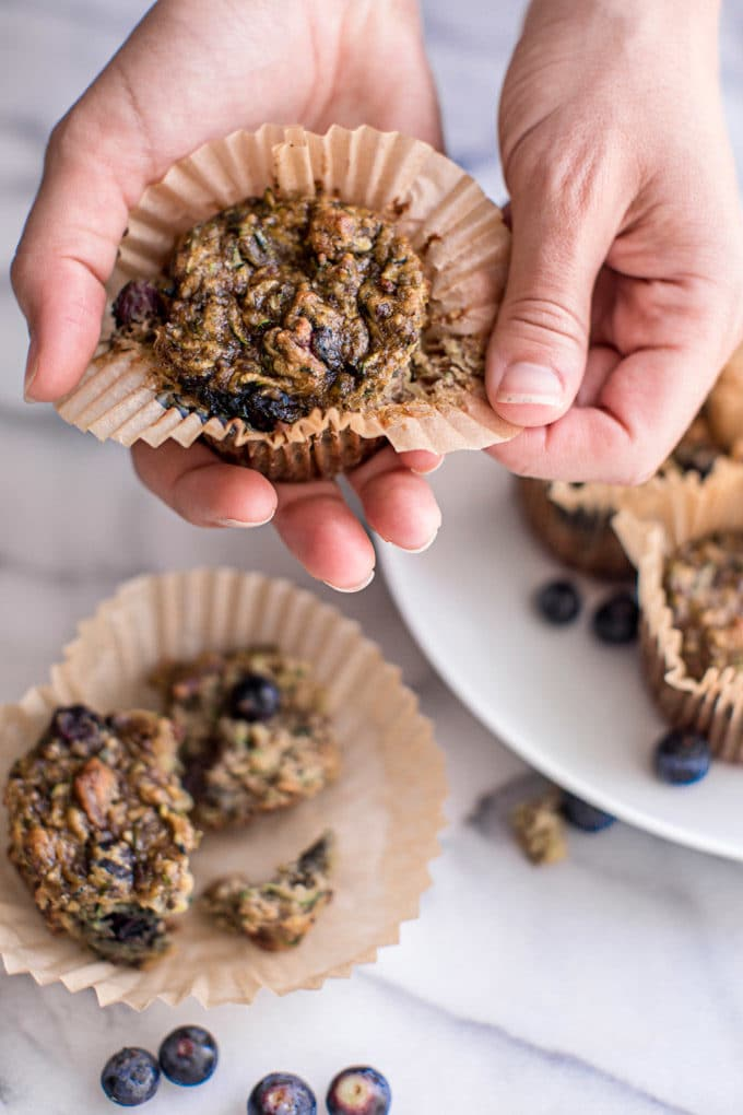 These blueberry + bacon zucchini muffins (gluten free) are the perfect sweet and savory breakfast combo. Full of protein, nutrients + absolutely delicious!