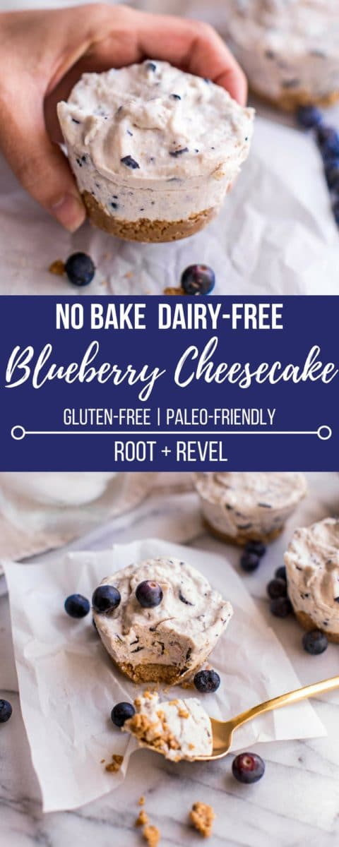 These blueberry no bake, dairy-free cheesecakes are, gluten-free and yet still rich, creamy and decadent thanks to cashews, coconut and vegan cream cheese.
