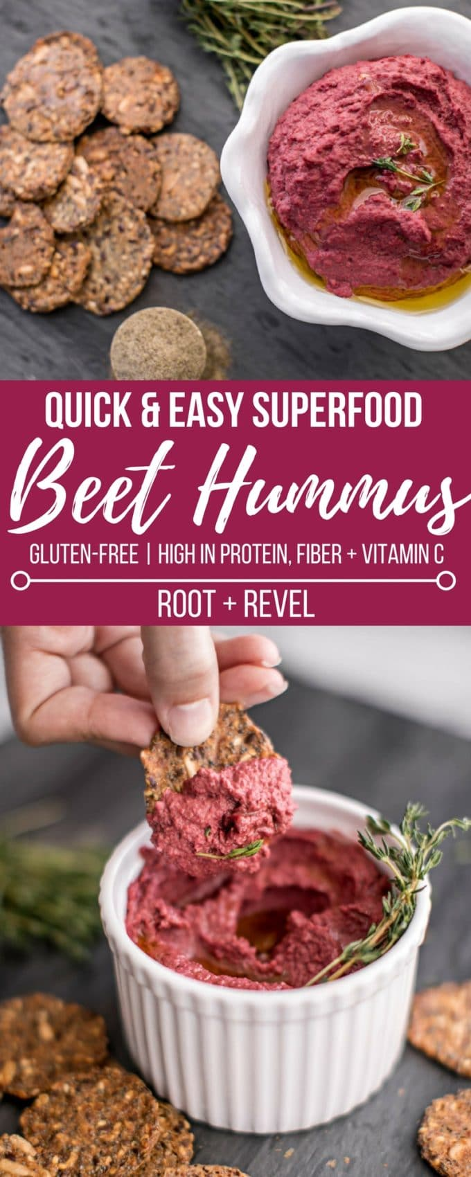 This easy Superfood Beet Hummus recipe is a vibrant and healthy twist on beet hummus, bursting with vitamins, minerals, and skin-nourishing collagen protein. This homemade hummus is quick to make with chickpeas, tahini, and beets for a delicious and clean snack.