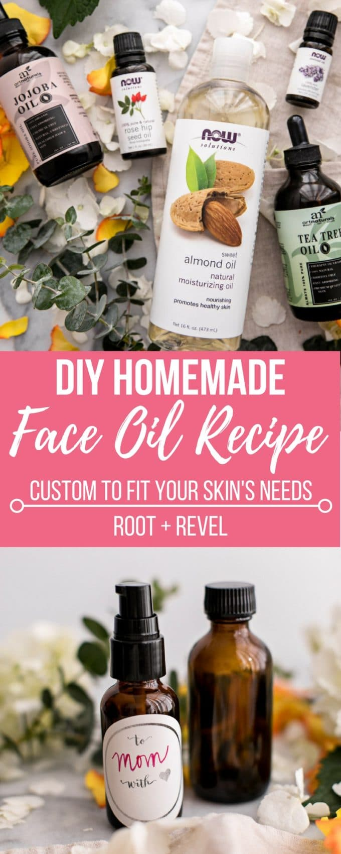 This Custom DIY Homemade Face Oil recipe is a natural, non-toxic and inexpensive skincare multi-tasker (moisturizer, cleanser, serum) can be tailored to all skin types (oily/acne-prone, dry, sensitive, mature), making it the perfect Mother's Day gift idea. Learn which carrier oils and essentials oils are best for your skin here!