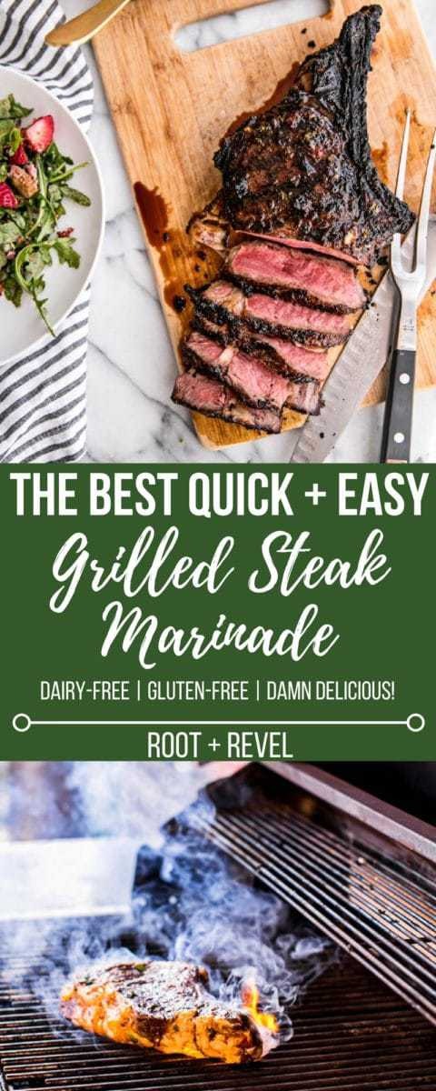 This is the best grilled steak marinade recipe...EVER! It's quick and easy, an extremely versatile steak seasoning that works on any cut of steak and it will WOW everyone you serve it to, especially when they learn it's actually healthy! Perfect for Father's Day, too.