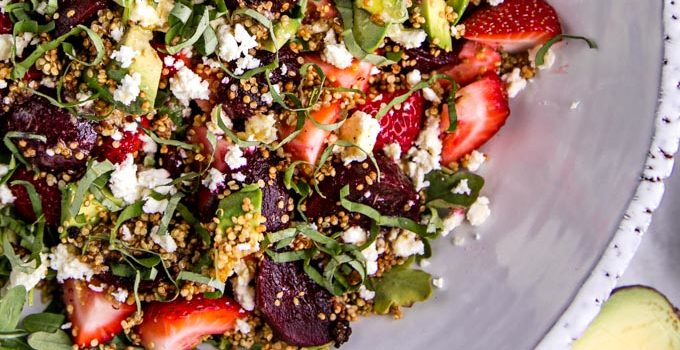 Strawberry + Pickled Beet Salad with White Balsamic Dressing