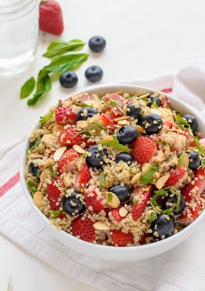 Healthy 4th of July Recipes: Sides + Salads - Red, White + Blue Quinoa Fruit Salad