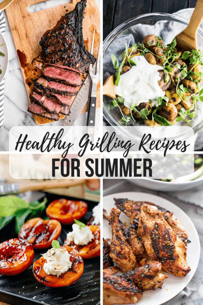 A collection of healthy grilling recipes to get you prepped for your summer festivities! Gluten free, paleo and vegan grilling recipes included to get you from Memorial Day to 4th of July, summer BBQs and cookouts, all the way through Labor Day!
