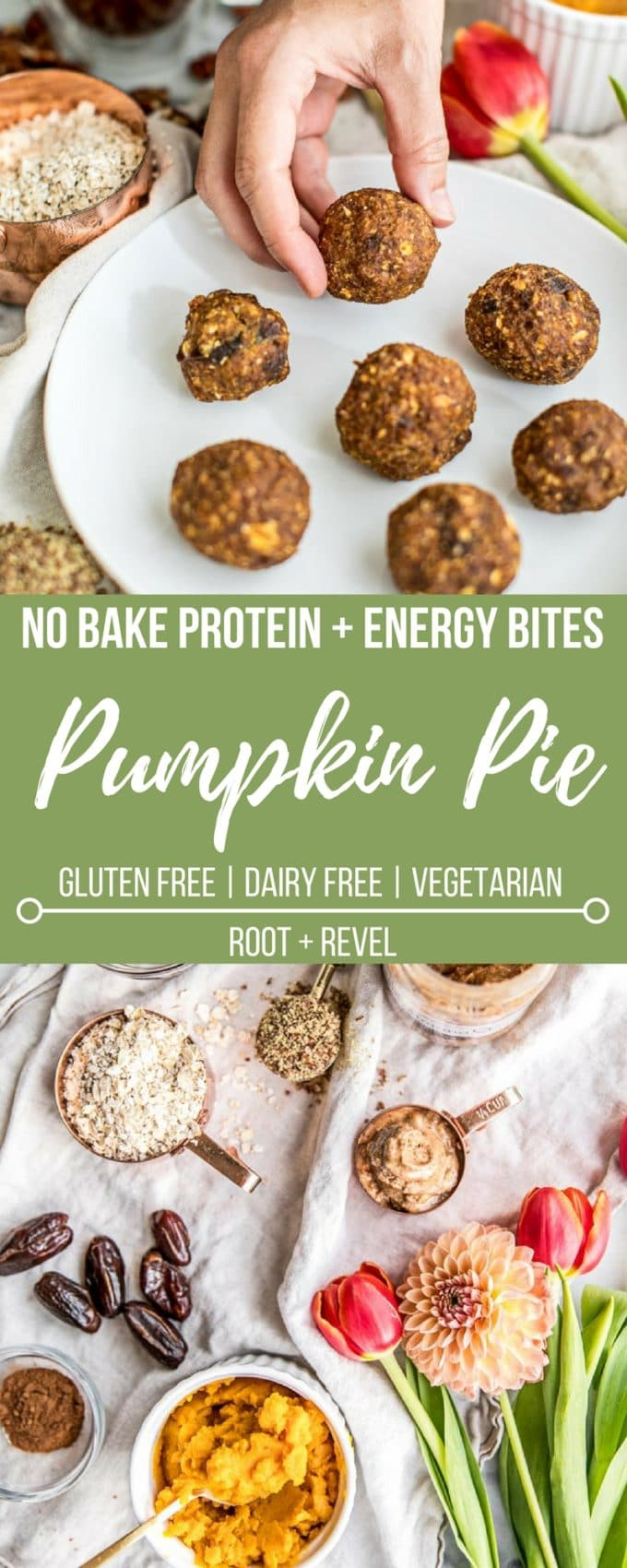 These easy No Bake Energy Balls + Pumpkin Pie Protein Bites are a delicious and healthy gluten free snack or breakfast bursting with fiber, plant-based protein and Vitamin A--the perfect morning energy boost! This clean eating recipe is perfect for adults and kids alike, filled with pumpkin, dates, oats, flax seed, pecans and almond butter. Sweetened with a touch of maple syrup, these healthy treats are refined sugar-free and vegan, too!