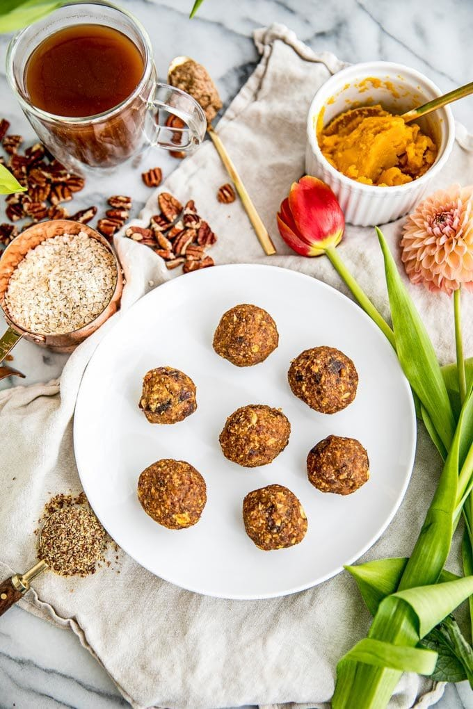 Healthy Fall Recipes Featuring Pumpkin with Pumpkin Pie Protein Energy Balls Recipe