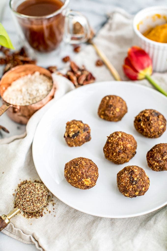 These No Bake Energy Bites: Pumpkin Pie Protein Balls are a delicious and healthy gluten free snack or breakfast bursting with fiber, plant-based protein and Vitamin A, the perfect morning energy boost!