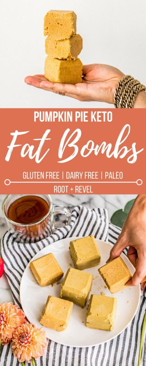 Chockfull of healthy fats and plant-based protein, these easy Pumpkin Pie Ketogenic Fat Bombs are dairy-free, gluten-free, Paleo, and low carb, making them the perfect energy-giving snack, breakfast and even dessert!
