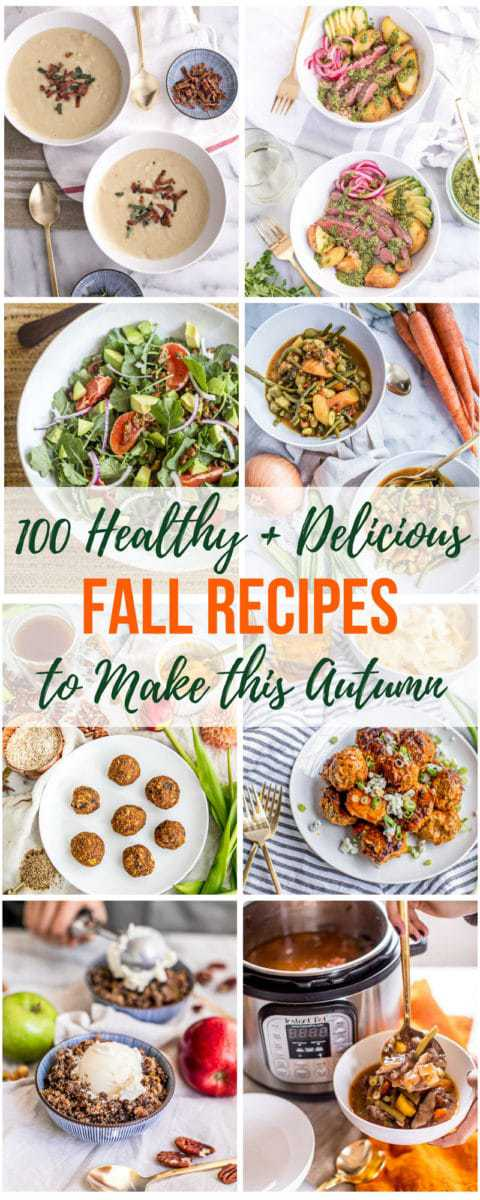 In this guide to healthy fall recipes, we're showcasing ten of the most popular seasonal ingredients for fall: pumpkin, kale, squash, cauliflower, apples, potatoes, carrots, mushrooms, onions & shallots and celery. You'll learn about the health benefits of seasonal produce AND we've rounded up 100 delicious Autumn recipes that will inspire you to get to your local farmer's market!