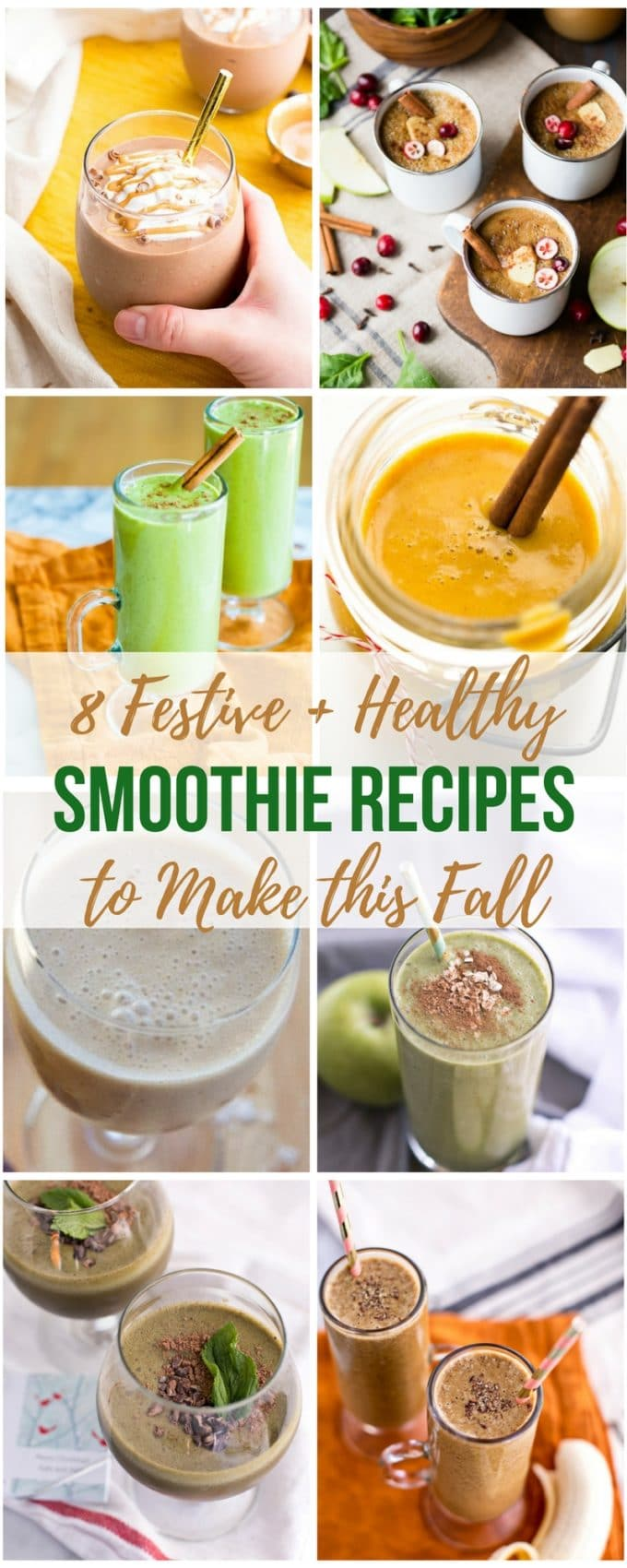 Get in the seasonal and holiday spirit this fall with these healthy breakfast smoothie recipes! From gingerbread to pumpkin spice, peppermint mocha to hot chocolate, hot mulled cider to apple pie, these healthy smoothies taste like the season in a glass!