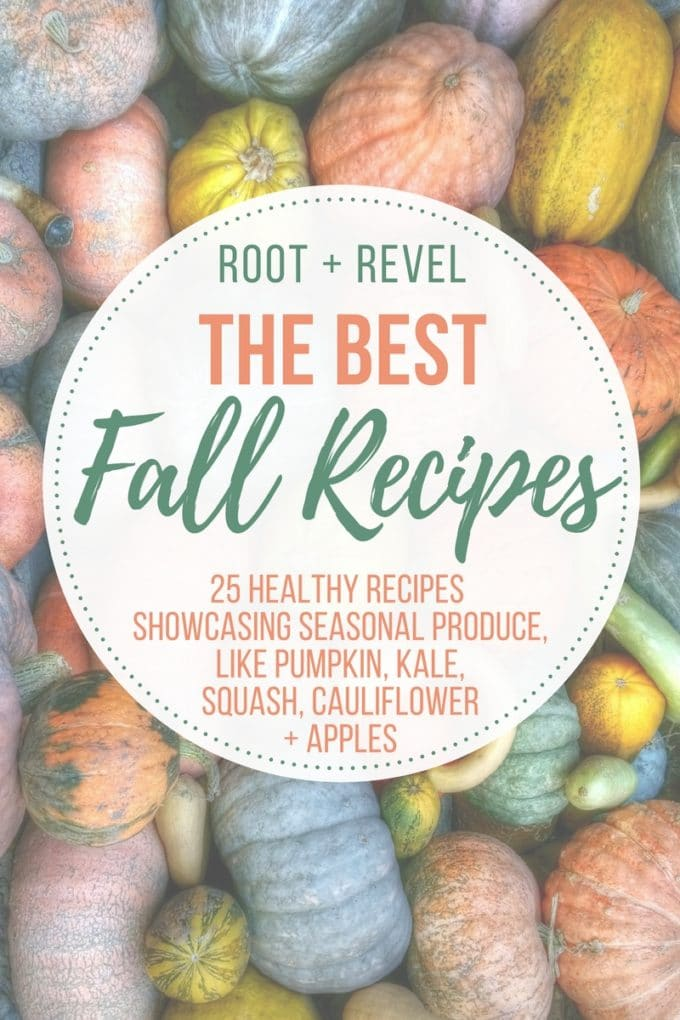 In this Guide to Fall Food, we're showcasing five of the most popular seasonal ingredients for fall: pumpkin, kale, squash, cauliflower, and apples. You'll learn about the health benefits of In Season Produce AND we've rounded up 25 delicious Autumn recipes that will inspire you to get to your local farmer's market!
