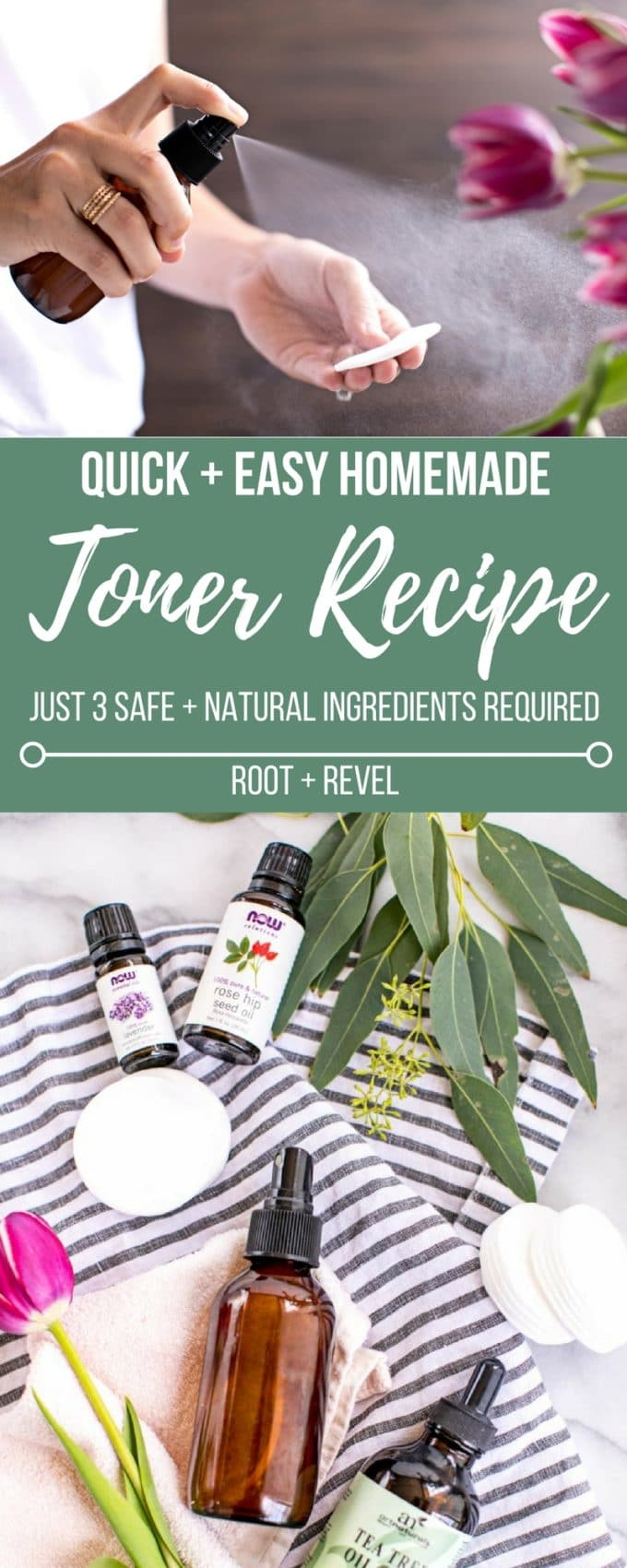 Avoid toxic chemicals + save money with quick + easy DIY Skincare. This Homemade Toner is just 3 ingredients to soothe, clean + refresh your skin!