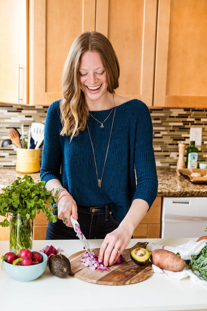 In this inspiring interview healthy food writer, recipe developer and cookbook author Leah Vanderveldt shares her balanced eating tips + favorite natural products, and advice for treating anxiety naturally!