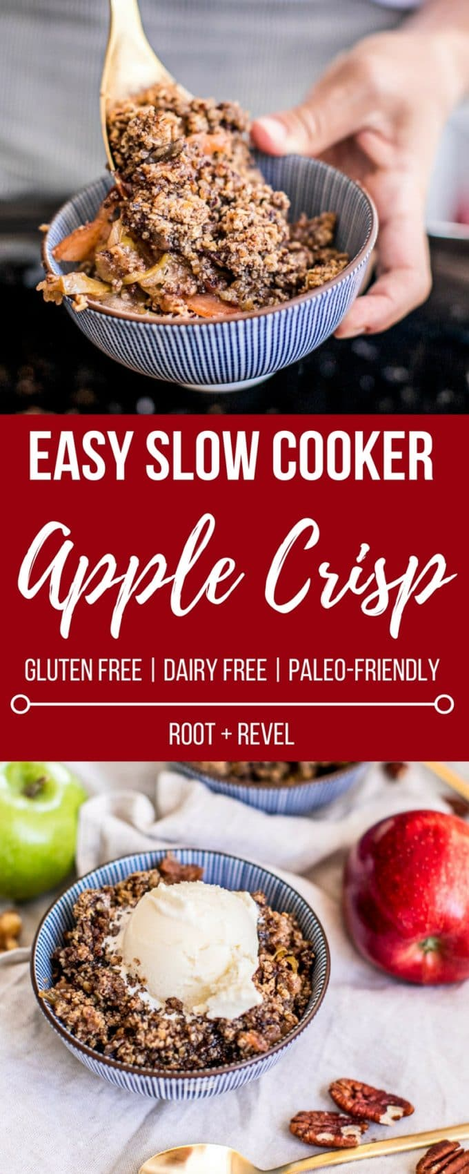 If you're looking for a healthy Thanksgiving dessert, this slow cooker apple crisp recipe is for YOU! It's so easy to make--in fact, this gluten free apple pie is made with just 1 pot (your crockpot) and is full of delicious warming spices and seasonal apples. Plus, the crumble topping is bursting with healthy fats and fiber from the oats, nuts, and ghee. Vegetarian and Paleo friendly, too, with a savvy substitution!