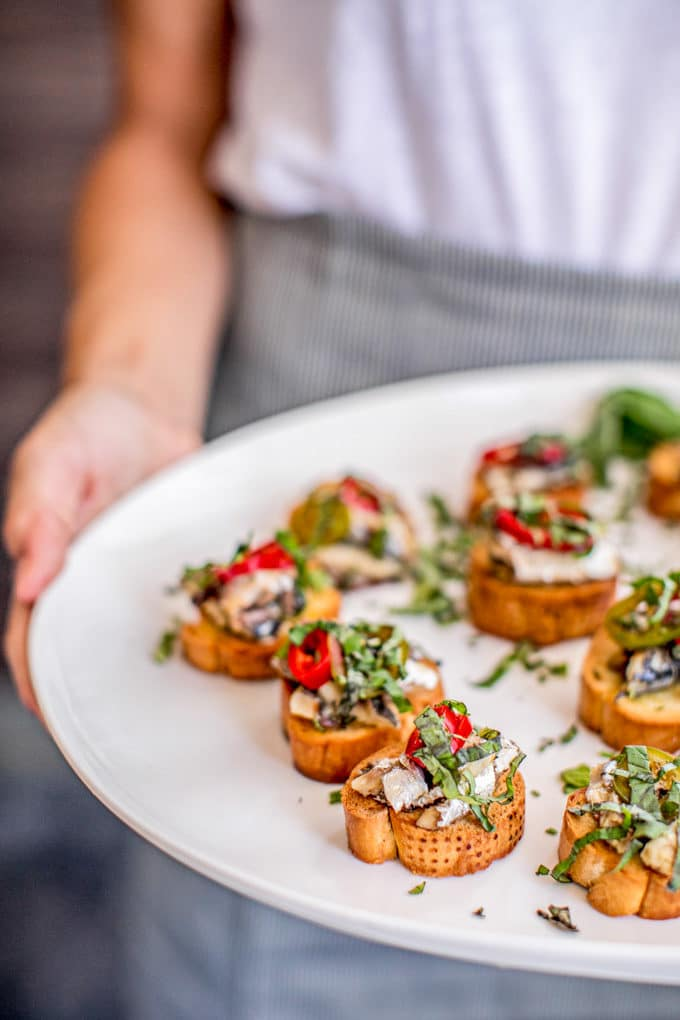 Healthy 4th of July Recipes: Appetizers - Crostini with Canned Sardines