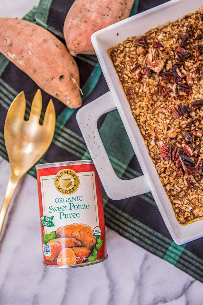 Clean eating + healthy sweet potato casserole: pecans, canned sweet potato, ghee, refined sugar free; easy Thanksgiving side dish or dessert; dairy free, gluten free; vegan-friendly