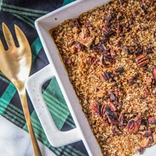 Easy + Healthy Sweet Potato Casserole with Pecans (Dairy Free, Gluten Free)