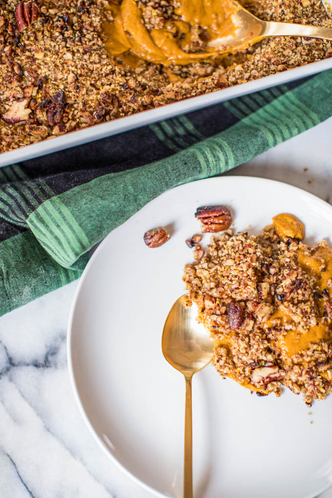 healthy sweet potato casserole: pecans, canned sweet potato, ghee, refined sugar free; easy Thanksgiving side dish or dessert; Dairy-free, gluten free; vegan-friendly