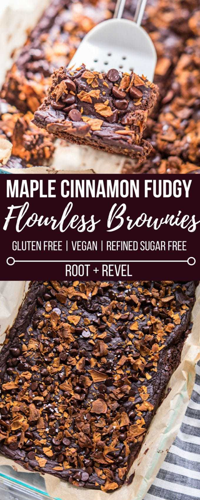 Looking for a healthy dessert recipe? Then you'll love these Maple Cinnamon Fudgy Flourless Brownies! Made with black beans, sweet potato, almond butter, cacao powder and baking soda, these gluten-free brownies are easy to make (one bowl!), refined sugar-free, vegan, nutrient-dense AND yet they're rich, decadent and super moist, gooey and fudgy! The perfect way to sneak more veggies and plant-based protein into your diet--no one will ever guess these flourless brownies are actually good for you!